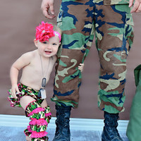 Jane's Camo & Hot Pink Satin and Lace Legwarmers