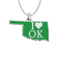 I Love Oklahoma Sterling Silver State Shape Necklace