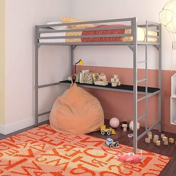 DHP Miles Metal Loft Bed with Desk, Silver, Twin Loft with Desk
