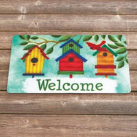 """Welcome Mat Rug Birdhouse Seashells Colorful 29-7/8"""" x 17-5/8"""" Polyester PVC NEW"""