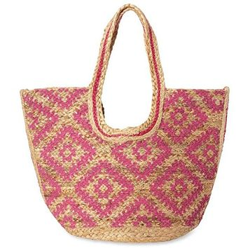 Adele Pink Straw Woven Tote
