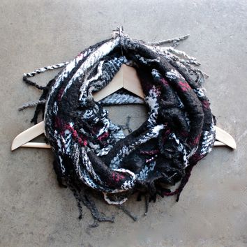 cozy flannel infinity scarf with tassels in black