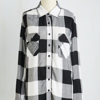 Menswear Inspired Long Long Sleeve Fall My Lovin' Top in Black and White