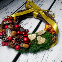 Red green gold moss rustic wreath, Christmas ornament, natural decor, pine cone lotus nuts, xmas door decor, wicker birch bark stars forest