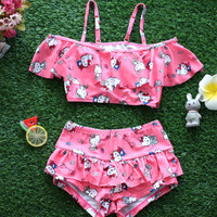 Summer Baby Girls Swimwear Kids Girls Two Pieces Swimsuit Girls Hello Kitty Biquini Infantil Swimwear Bathing Beachwear