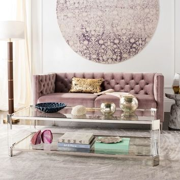 Safavieh Couture Gianna Glass Coffee Table- Clear - 58 in w x 26 in d x 16 in h | Overstock.com Shopping - The Best Deals on Coffee, Sofa & End Tables
