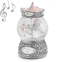Personalized Carousel Horse Musical Water Globe , Add Your Message