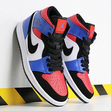 NIKE AIR JORDAN 1 Fashion New Hook Women Men High Top Contrast Color Shoes