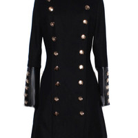 Black Stand Collar Double Breasted Long Coat