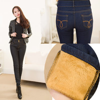 2016 Winter New Plus Size Women Jeans Warm Thicken Fleeces Two Button Pencil Pants Fashion Skinny Denim Trousers P8019