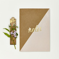 Kraft and Pink Notebook with Gold Foil