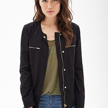 LOVE 21 Collarless Woven Utility Jacket Black