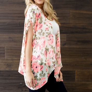 Ivory Pink Neon Floral Open Cardigan