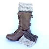 Neutral Colored Reversible Boot Cuffs, Two Toned Toppers, Brown Boot Cuffs, Cream Boot Cuffs