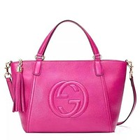 Gucci Trending Women Tassel Pure Color Letter Leather Zipper Shoulder Bag Satchel Tote Handbag Rose Red I