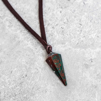 Bloodstone Pendulum Leather Necklace
