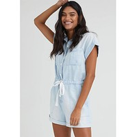 Capsleeve Button Front Romper Island Wash
