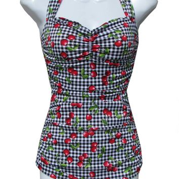 Bettie Page Classic Sarong Cherry and Plaid Swimsuit pinup retro rockabilly