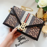 BURBERRY New full printed letters ladies logo chain shoulder bag