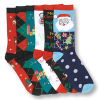 6 Pair Assorted Christmas Crew Socks