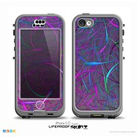 The Purple and Blue Electric Swirels Skin for the iPhone 5c nüüd LifeProof Case