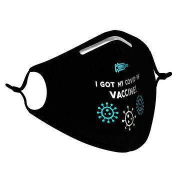 BLACK, BLUE & WHITE VACCINE -  MASK WITH (4) PM 2.5 CARBON FILTERS
