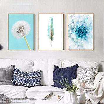 Chrysanthemum Feather Dandelion Wall Art Canvas Painting Nordic Posters And Prints Wall Modular Pictures For Living Room Deco