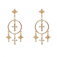 Casual Cross Pendant Round Earring
