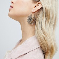 Liars & Lovers Floral Embossed Hoop Earrings at asos.com