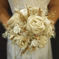 """Burlap and Babies Breath Bridal Bouquet, Rustic, Elegant and Country. Available as a 6"""", 8"""" or 10"""" Made to Order."""