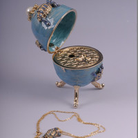 Blue Faberge Egg Trinket Box with Turtles and a Surprise Turtle Pendant Handmade by Keren Kopal Decorated with Swarovski Crystals and Pearl