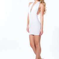 Come To A Halter Plunging Minidress GoJane.com