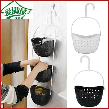 AMW 3 Tier Shower Bathroom Rack Plastic Hanging Over Basket Tidy Bathroom Kitchen Organiser Holder Kitchen Hanging Baskets Rack