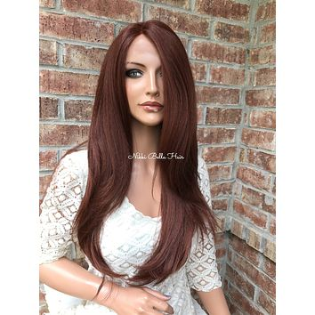 """Natural Red Straight Human Hair Blend Multi Parting lace front wig 24"""" 41722"""