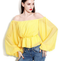 Yellow Loose Fitting Off Shoulder Bell Sleeve Top