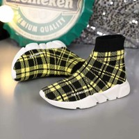 2020 new cheap Balenciaga Stylish Women Men Casual Speed Stretch Knit Socks Shoes top quality yellow