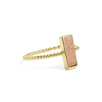 Tall Champagne Pink Stacking Ring