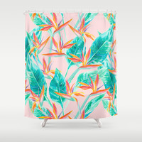 Birds of Paradise Blush Shower Curtain by Jacqueline Maldonado