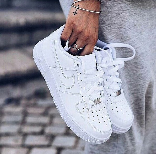 Image of NIKE Air Force 1 Personalized Running Sneakers Shoes Pure White