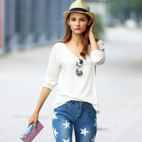 SIMPLE - Woman Fashionable Attractive Long Sleeve V-Neck Top a10595