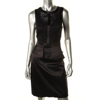 Vince Camuto Womens Satin Lace Overlay Cocktail Dress