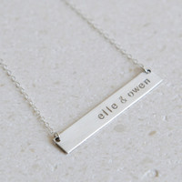 Nameplate Necklace / Personalized Jewelry /Initials Necklace/Sterling Silver /Layering/ Bridesmaid Gift/ Wedding Gift/ Gift for Bride/ N116G