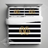 Gold Monogram Bedding - Black and White Stripe Dorm Comforter - Striped Dorm Duvet - College Bedding Set - Personalize with Name or Monogram
