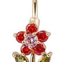 Red Crystal Flower with Green Leaves Belly Ring