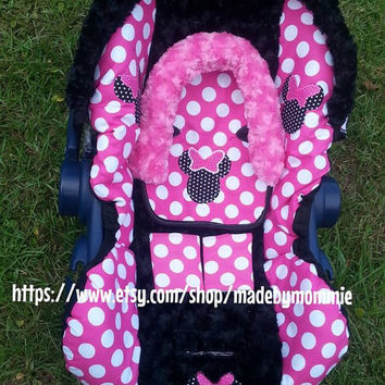 minnie mouse  Infant car seat cover, canopy, headrest and strap covers
