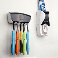 Automatic Toothpaste Dispenser 5 Toothbrush Holder Set Wall Mount Stand Toothbrush Family Toothbrush Holder Bathroom Household