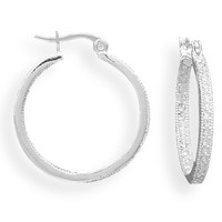 Silver Plated In and Out Crystal Click Hoop Fashion Earrings
