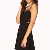 FOREVER 21 Caged Fit & Flare Dress Black