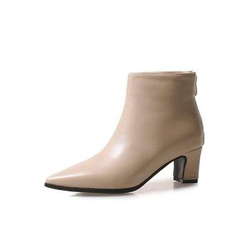 Pointed Toe Zipper Women's High Heeled Ankle Boots