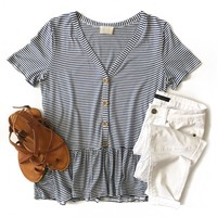 Navy Stripe Button Down Peplum Top